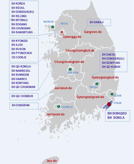 Bản đồ một số trường đối tác Hàn Quốc hợp tác với ICOGroup