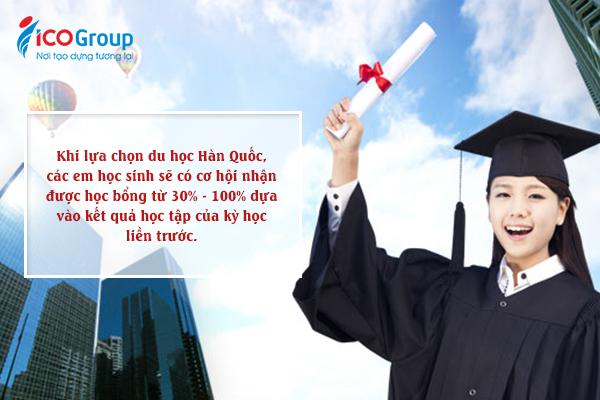 Du học sinh tại Hàn Quốc được nhận học bổng từ 30% - 100%.